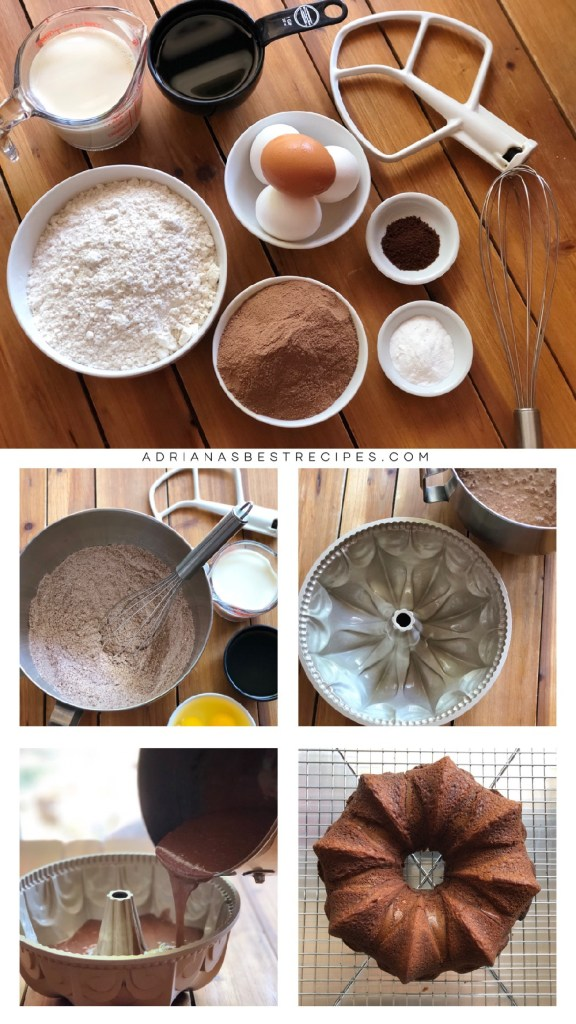 Step by step process on how to prepare the chocolate cake with pancake mix, powdered chocolate, cooking oil and more