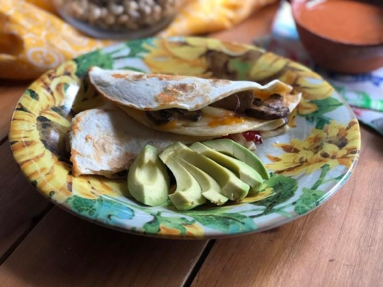 The leftover pork sirloin fajitas leftovers result in a delicious pork fajitas quesadilla.