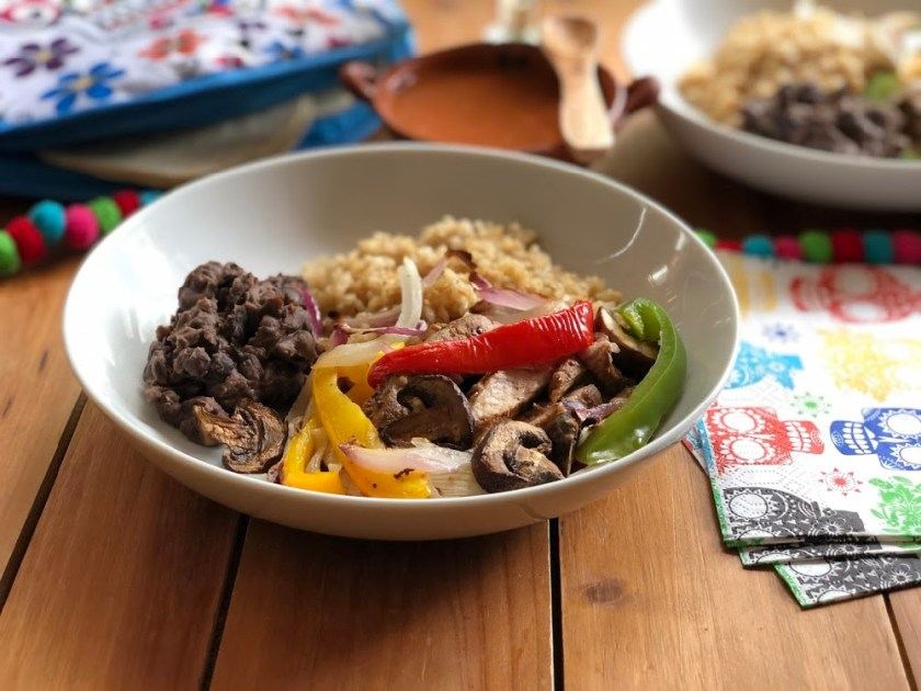 This is the recipe for the skillet pork sirloin fajitas bowl. This is an easy recipe for the Cinco de Mayo menu