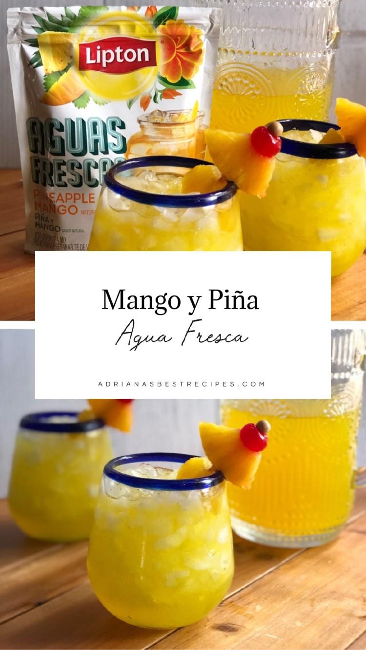 Agua fresca de mango y piña servida con cerezas y trocitos de piña fresca