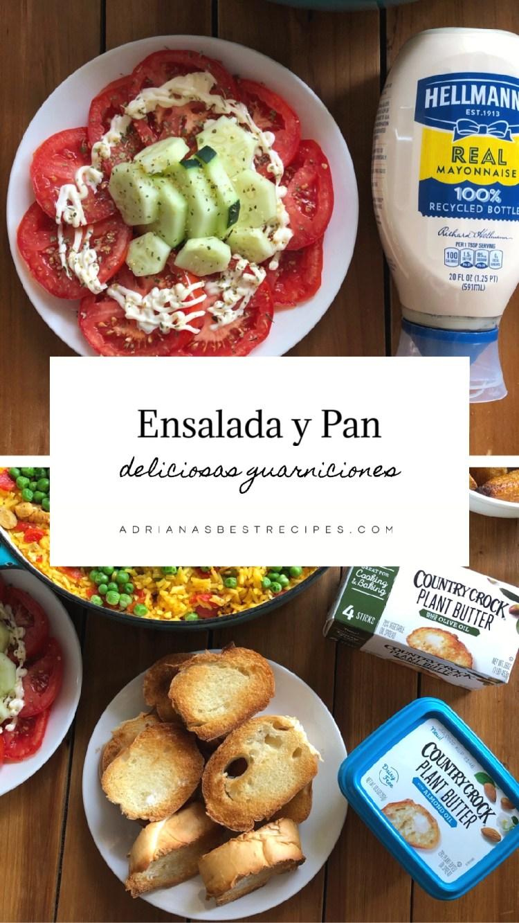 El menu incluye ensalada de tomate con pepinos y pan caliente con mantequilla