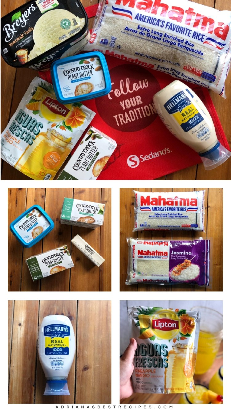 Estos son algunos de los productos participantes en la promoción del Festival of Savings de Sedano's. La promoción incluye Mahatma Rice, Hellmans Real Mayonnaise, productos a base de plantas Country Crock, Lipton aguas frescas y Breyer's ice cream.