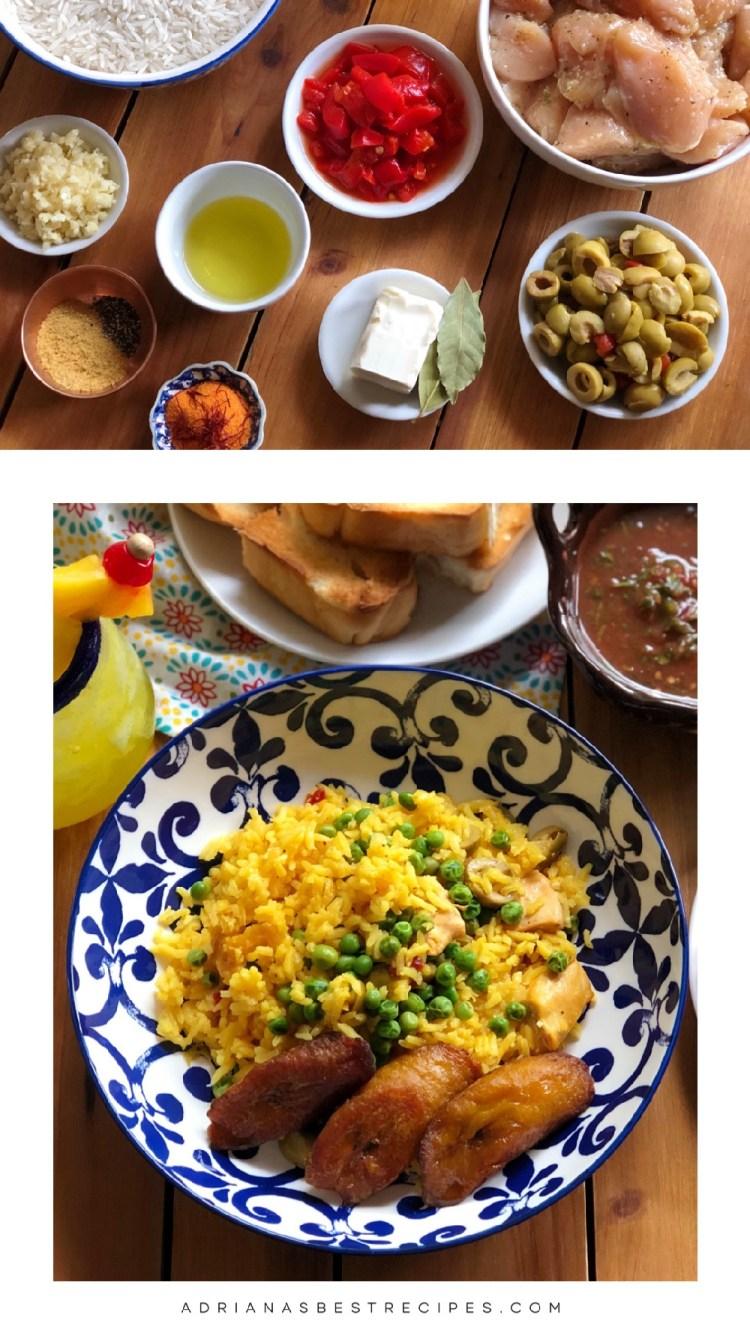Prepara esta deliciosa receta de arroz amarillo con pollo. Es una receta sencilla que incluye trozos de pollo fresco, pimientos piquillo, ajo, aceitunas, azafrán, mantequilla de aceite de oliva, hojas de laurel, caldo de pollo y arroz de grano largo.