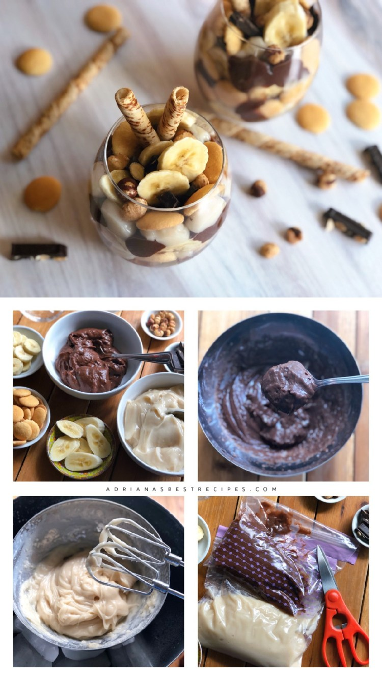 Step by step process for making the vegan chocolate pudding dessert
