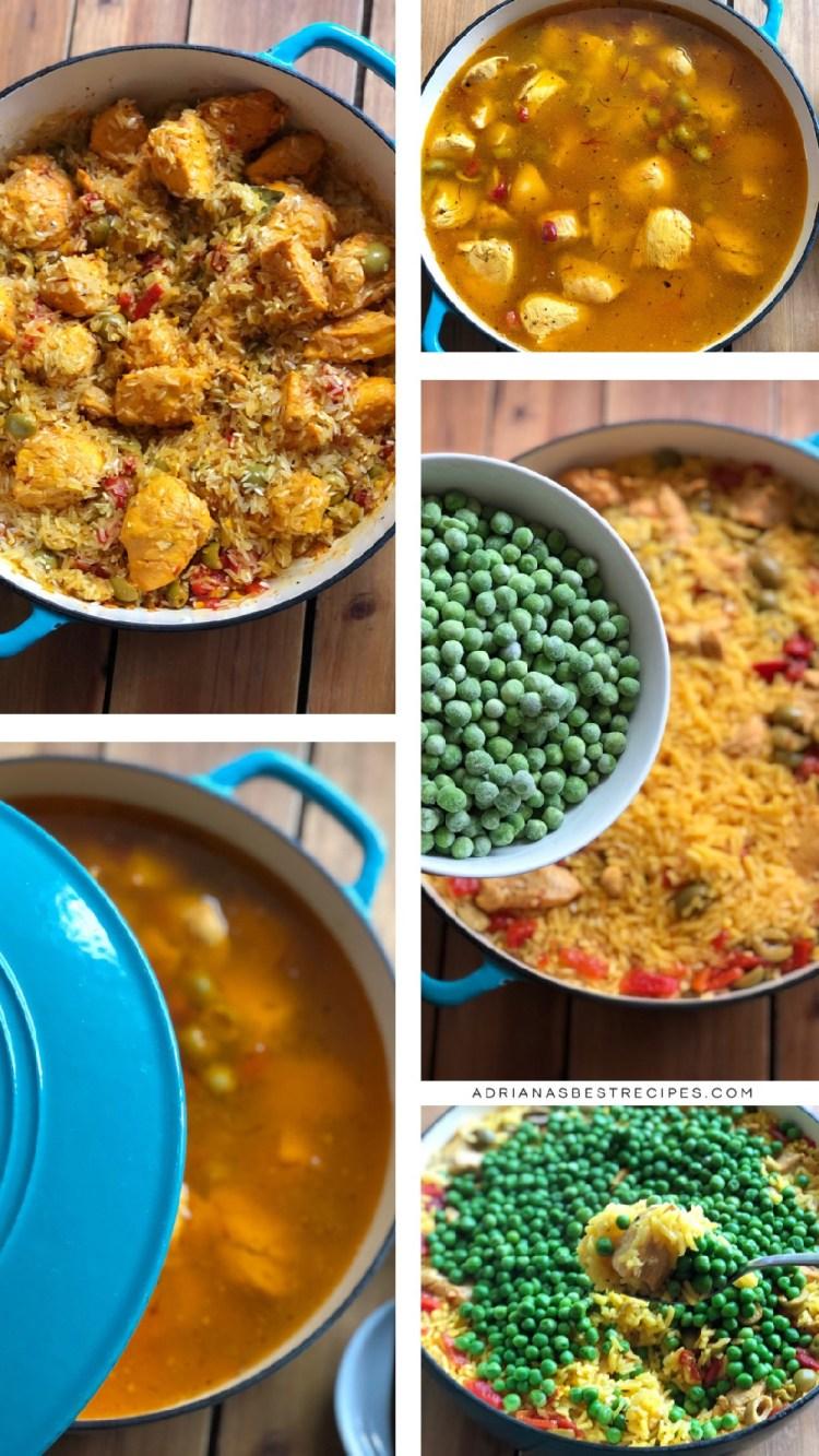 Este es el proceso paso a paso sobre cómo hacer el platillo clásico de arroz con pollo usando un horno holandés. Usamos dos tazas de agua caliente por cada taza de arroz para conseguir un resultado perfecto.