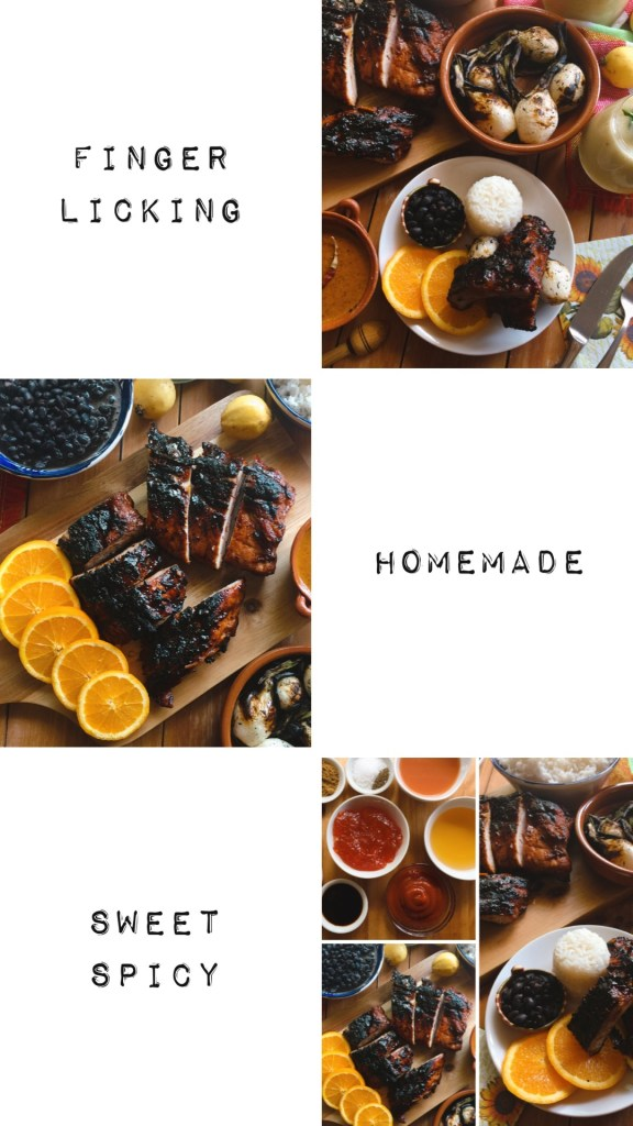 a collage of pictures showing BBQ ribs and the ingredients