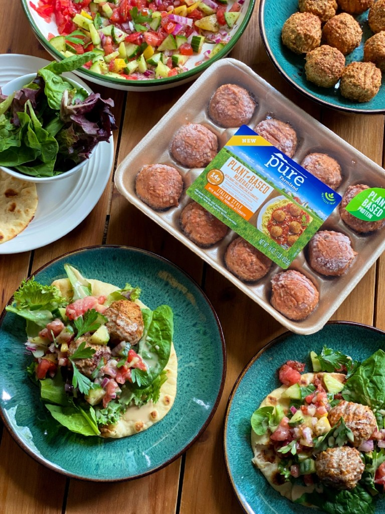 a birds-eye of a tablescape with food and a package of meatless meatballs