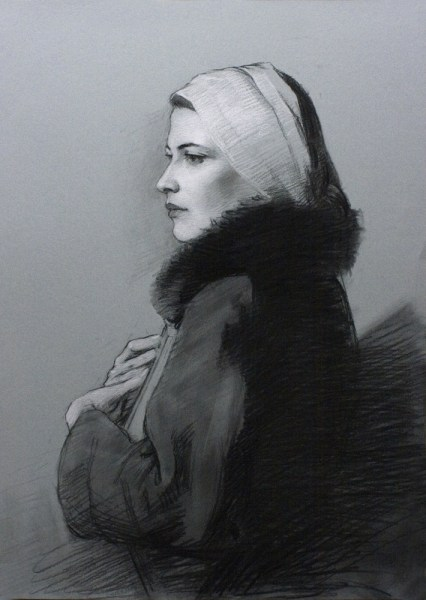 adrian gottlieb - the poet charcoal drawing