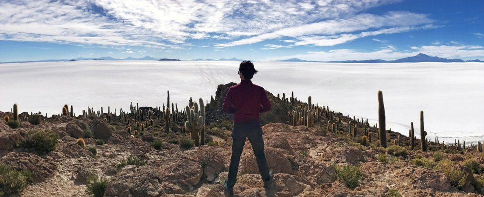 Adrian Lin looks out from Incahuasi Island in Bolivian Salt Flats