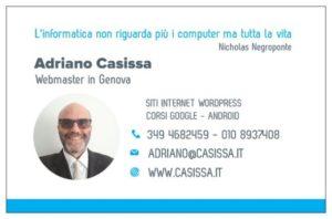 Adriano Casissa Biglietto da visita