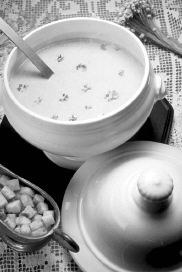 Picture of a soup bowl with a ladel