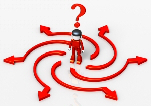 Man in red looking confused with curved arrows and a question mark