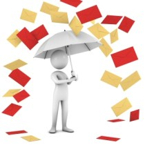 Picture of a character holding an umbrella, with yellow and red cards raining down