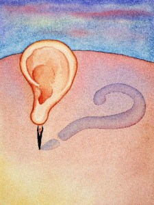 Picture of an ear and a question mark.
