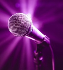 Karaoke microphone in spotlight