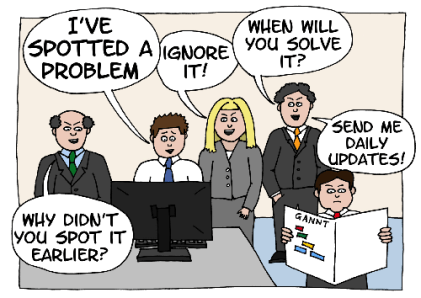 Cartoon with a person spotting a problem surrounded by others hassling them