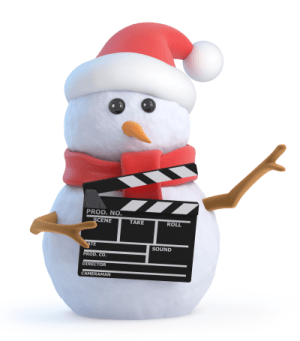 Snowperson holding clapper board