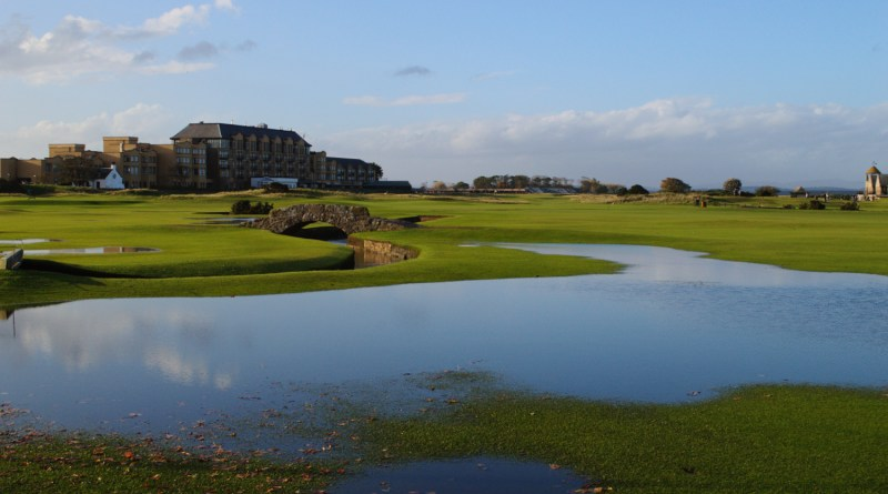 Autumn leaves and water on The Old Course.