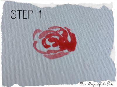come realizzare una rosa con l'acquerello step 1