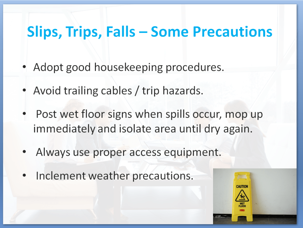Health and Safety Awareness Training Course | Slips Trips Falls - Some Precautions