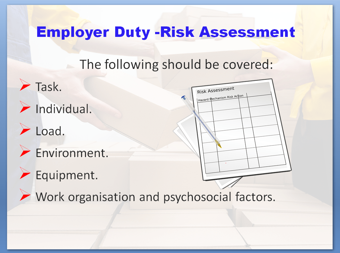 Manual Handling Awareness Training Course | Employer Duty - Risk Assessment