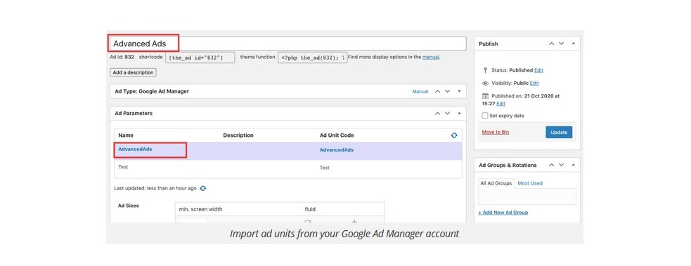 ad manager import ad unit