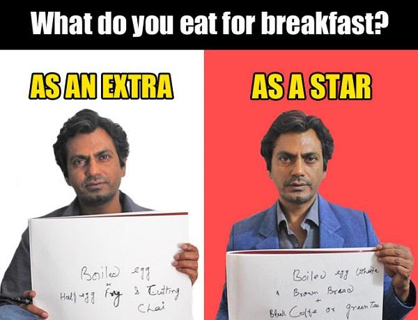 what nawaz eat for breakfast