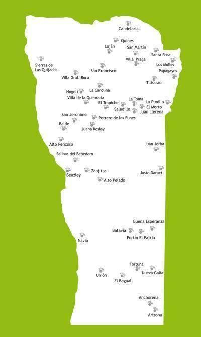 Mapa de Wifi Gratis 2017 en la Provincia de San Luis