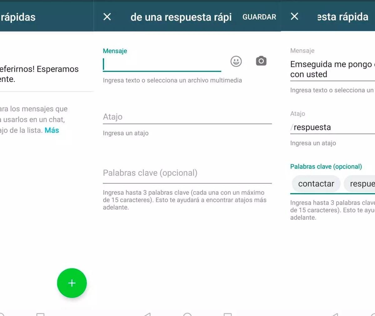 Respuestas rápidas - WhatsApp Business