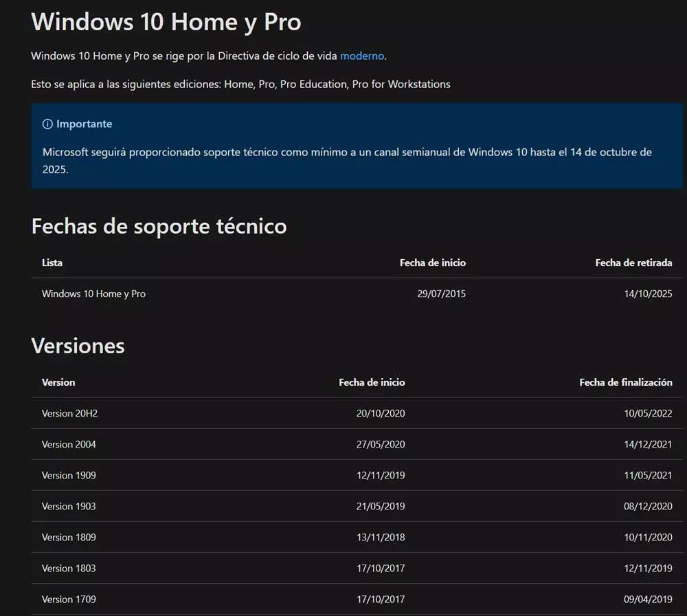 windows 10 versiones soporte