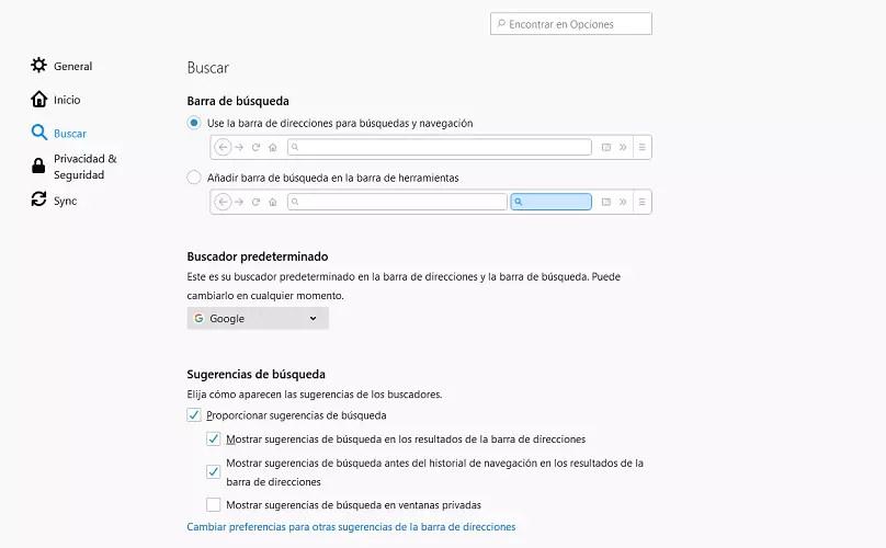 Firefox motor de búsqueda