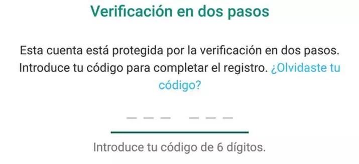 verificacion dos pasos whatsapp