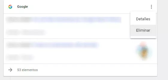 eliminar historial búsquedas Google