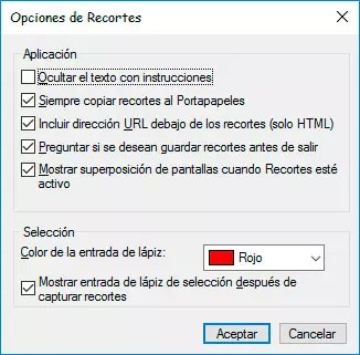 captura de pantalla con Recortes