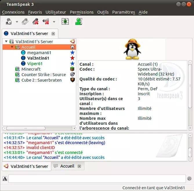TeamSpeak 3 User Interface
