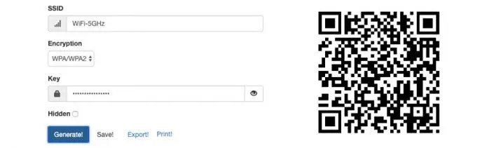 Generate a QR code to access a WiFi network