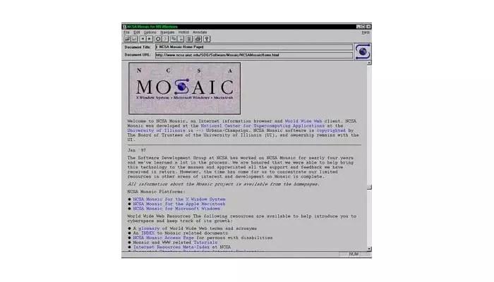 Mosaic, primer navegador web para entornos gráficos
