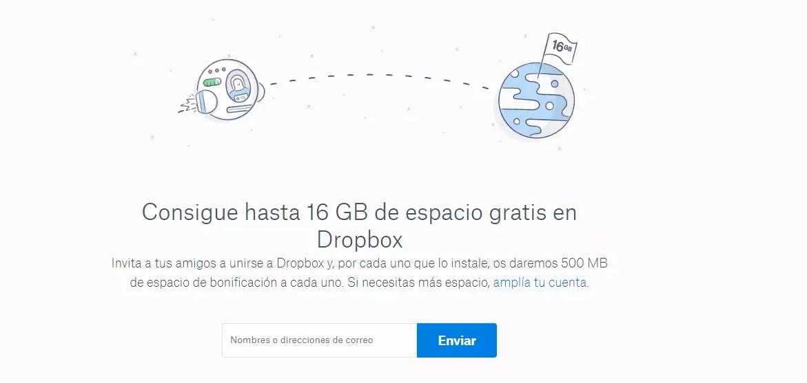 Comprar espacio en Dropbox - Invita a amigos