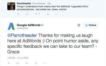 screenshot of adwords twitter response on their new urls