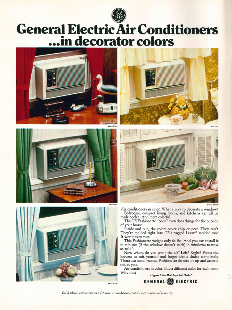 Ad of yore general electric air conditioner full page print advertisement from a 1969