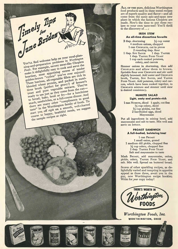 Mmmm meat analogues clayton hoves ad to the bone 1946 magazine ad for worthington foods forumfinder Image collections
