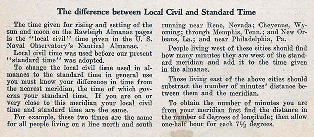 The difference between Local Civil and Standard Time