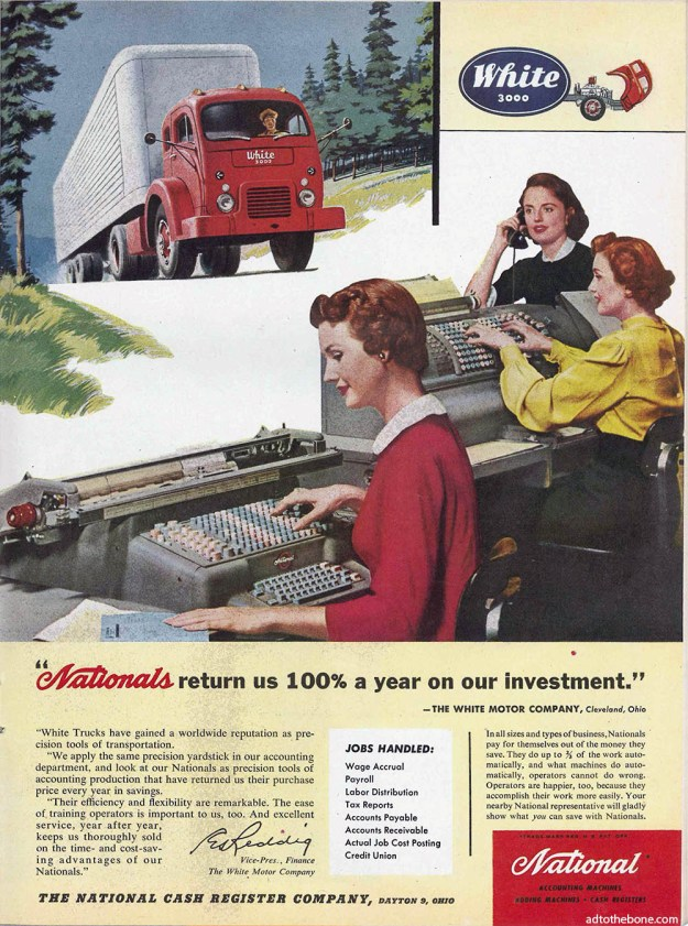 Midcentury magazine ad for National Accounting Machines / National Cash Register Company. Yes, I forgot to write down the year again.