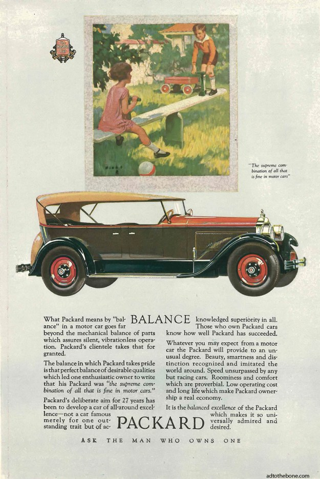 "Packard ""Balance"" ad from the June 4, 1927 issue of The Literary Digest"