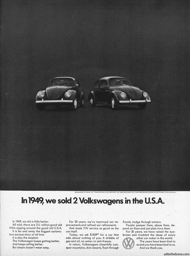 Volkswagen Beetle magazine ad from around 1970