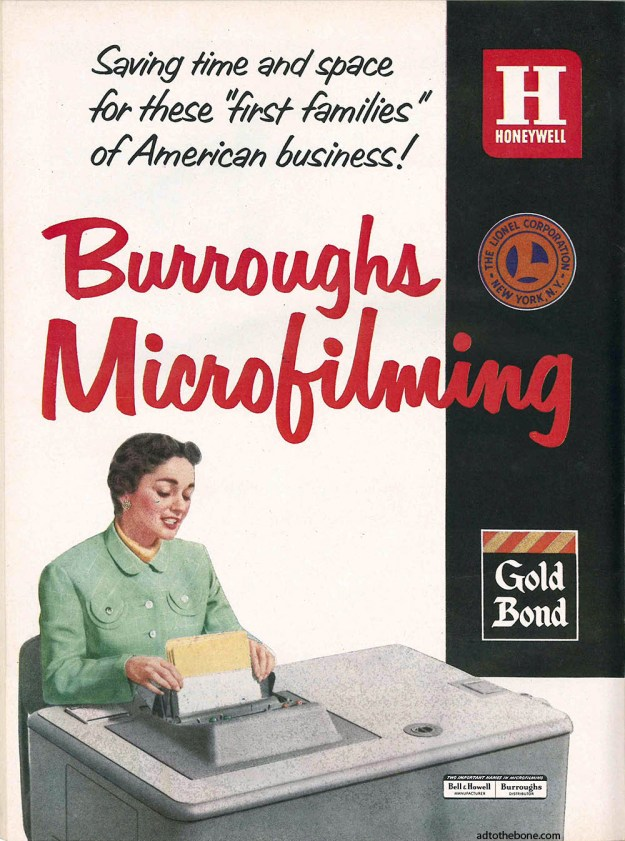 Burroughs Microfilming magazine print ad
