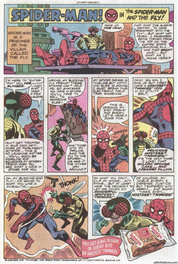 Comic book ad for Hostess Twinkies - Spider-Man! in The Spider-Man and the Fly!