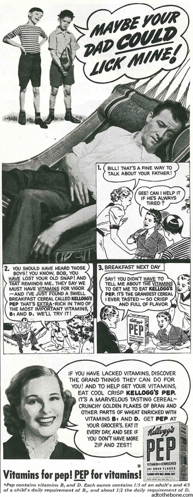 Magazine ad from the late 1930s for Kellogg's Pep breakfast cereal.