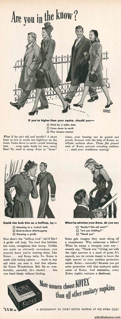 Circa 1947 magazine ad for Kotex Sanitary Napkins