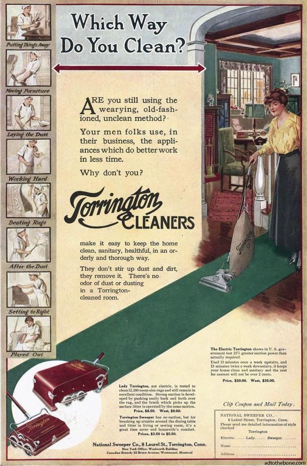 Magazine ad for Torrington Cleaners /  National Sweeper Co. found in the May 1917 issue of The Designer